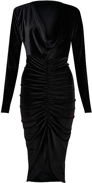 LADIES CRUSHED VELVET LOOK LONG SLEEVE MIDI DRESS COWL NECK RUCHED DETAIL 8-20