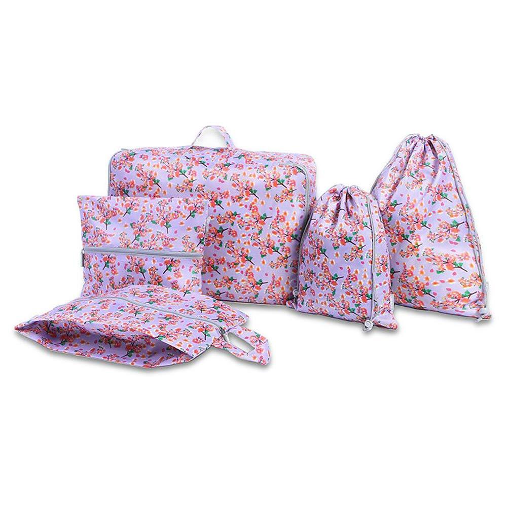 Ensemble de Cubes demballage imprim/é de Fleurs imperm/éables Organisateur demballage de Bagages de Voyage pour Femmes Filles Bleu Sacs de Rangement pour Chaussures Ensemble de 5
