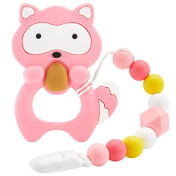 Silicone Elephant Design Teether with Relief Beads Binky Holder and Pacifier Clips for Toddlers /& Infant Baby Teething Toys Gray