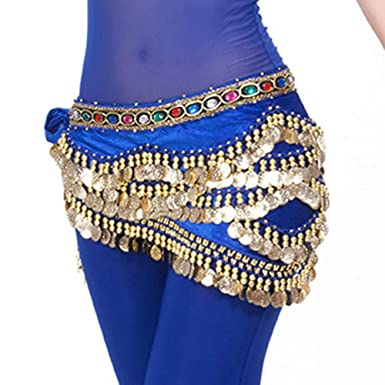 HCFKJ Belly Dance Hip Bufanda Monedas De Oro Belly Dance Costume ...