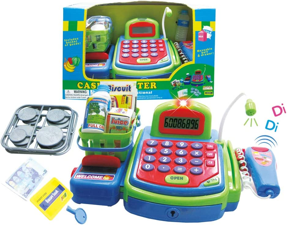 coins and credit card scanner Green Cash Register with calculator