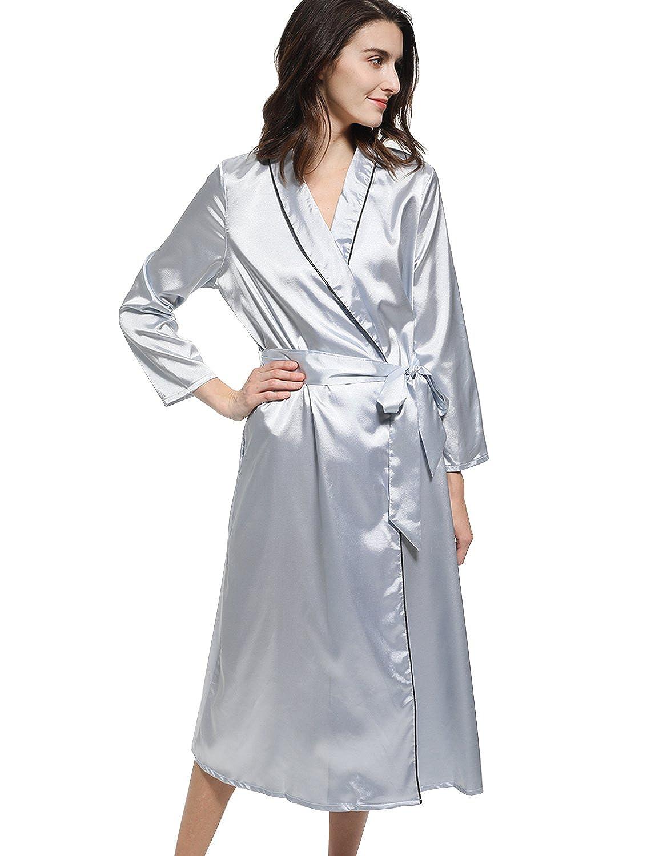 Mobisi Womens Long Satin Robe Long Sleeve V Neck Pocket Kimono Bathrobe  Sleepwear Loungewear at Amazon Women s Clothing store  b8bc17b77