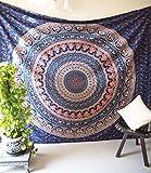 Folkulture Mandala Hippie Tapestry Bohemian Wall Hanging Indian Boho Elephant Bedspread Bedding Blanket for Bedroom - Queen Size, Vintage Valor