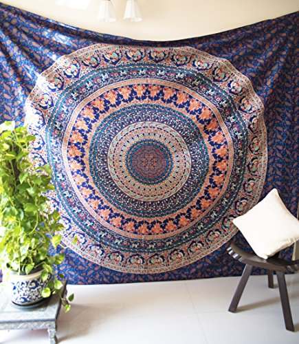 Folkulture Vintage Valor Mandala Tapestry Bohemian Hippie Wall Hanging Indian Queen Size Boho Art Elephant Bedspread Bedding Blanket for Bedroom