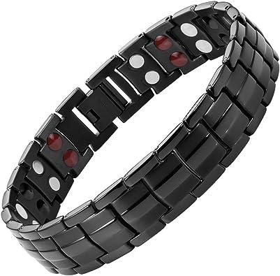 Willis Judd Mens New Four Element Titanium Magnetic Bracelet In Black Velvet Gift Box Free Link Removal Tool