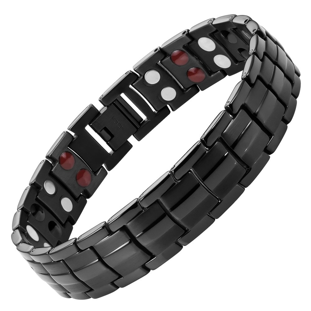 Willis Judd Double Strength 4 Element Titanium Magnetic Therapy Bracelet for Arthritis Pain Relief Black Colour Adjustable by Willis Judd