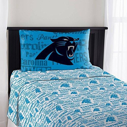 3 Piece Nfl Panthers Anthem Sheet Twin Set, Football Themed Bedding Sports Patterned, Team Logo Fan Merchandise Athletic Team Spirit Fan, Blue Black Silver White, Polyester