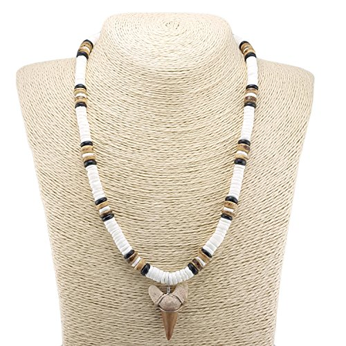 Tiger Puka Shell Necklace - Shark Tooth Pendant on Puka Shells Necklace with Tiger and Black Coconut Wood Beads (3S)