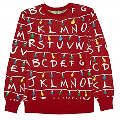 Men S Stranger Things Ugly Holiday Led Light Up Sweater Red 2xl