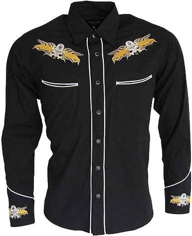 Relco - Red Star Rodeo - Camisa Casual - Manga Larga - para Hombre Negro Negro M: Amazon.es: Ropa y accesorios