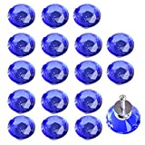 ASIMOON 18pcs 30mm Clear Crystal Glass Cabinet Knobs with Free Screws, Diamond Shape Drawer Knobs Pulls Handles Used for Kitchen, Dresser, Door, Cupboard, Bin (Blue)
