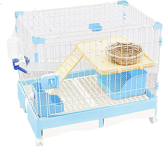 Jaulas Conejo Doméstico Cubierta Nido Mascotas Grande Guinea Pig Guinea Pig reproductoras enjauladas Perro del Saco de Dormir Aves (Color : Blue, Size : 92 * 62 * 68nm)
