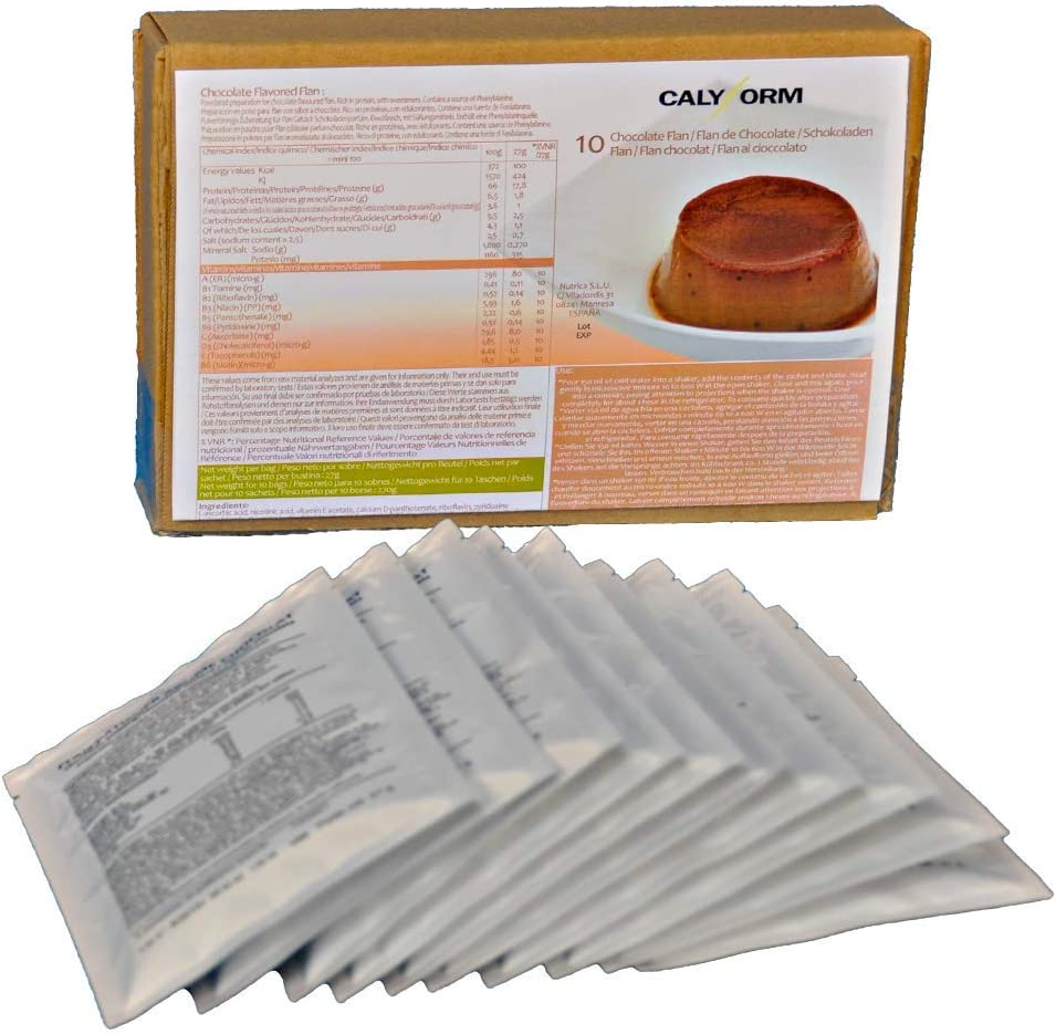 CALYFORM Flan Proteico para dieta saciante sabor Chocolate | Proteína en polvo de calidad y aporte en aminoácidos esenciales (10 Sobres)