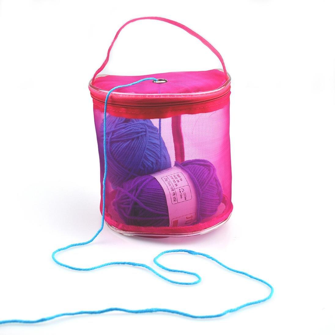 Clearance Deal! Hot Sale! Storage Bag, Fitfulvan New Mesh Bag Lightweight Portable Yarn Crochet Thread Storage Organizer Tote (Hot Pink)