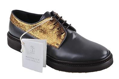 BRUNELLO CUCINELLI Chaussures Femme Brun Beige,Gris Foncé,Or Cuir Flâneurs  37 9de5940045fd