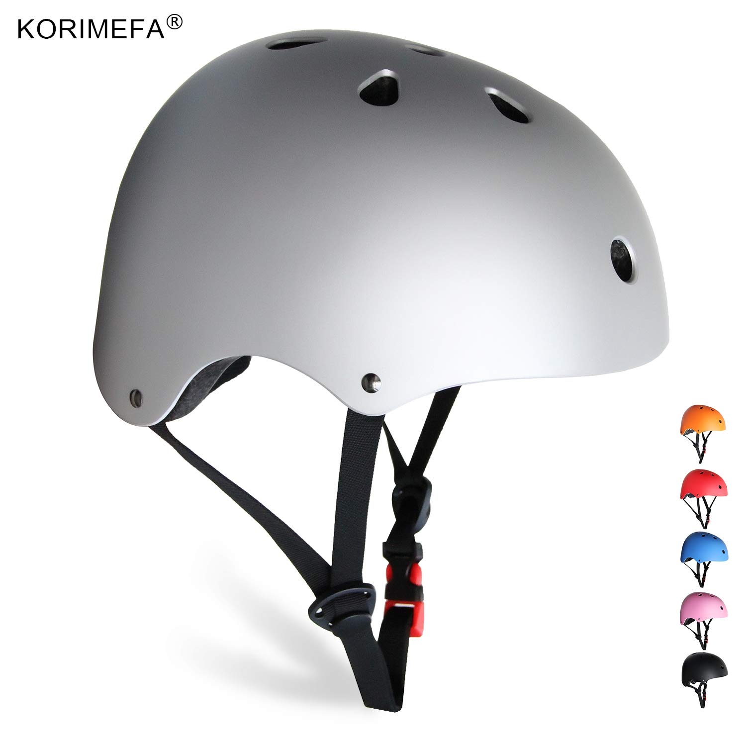 KORIMEFA Skateboard Helmet Kids Youth Adult Bike Helmet Adjustable CPSC Certified Multi-Sports Helmet for Cycling Scooter Roller Skate Inline Skating Rollerblading for Kids Men Women