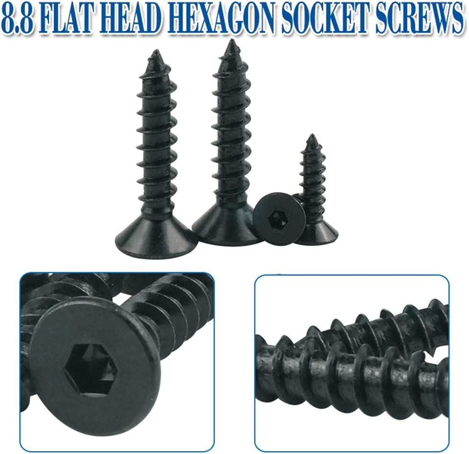 cabeza plana, cabeza plana Luchang 8,8 Tornillos autoroscantes hexagonales de cabeza plana M3 M4 M5 M6 color negro