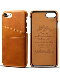Iphone 8 Leather Wallet Phone Case Ultra Slim Cover with Card Holder, Khaki