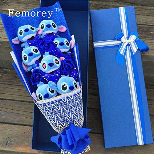 7pcs/set Stitch with Blue Flowers Plush Toy Bouquet (Without Box)