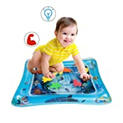 TRSCIND Infant Toys Premium Inflatable Baby Water mat Tummy Time mat Infants' Perfect Fun Time Play Activity Center for Baby Stimulation and Growth 24'' X 20''