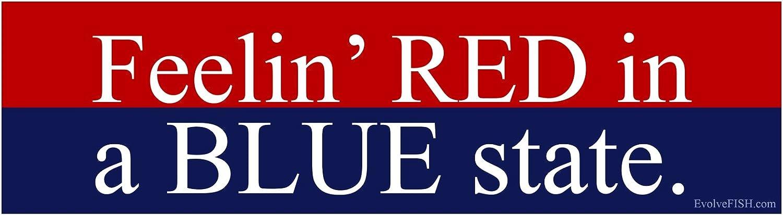 11 x 3 EvolveFISH Feelin Red in a Blue State Bumper Sticker