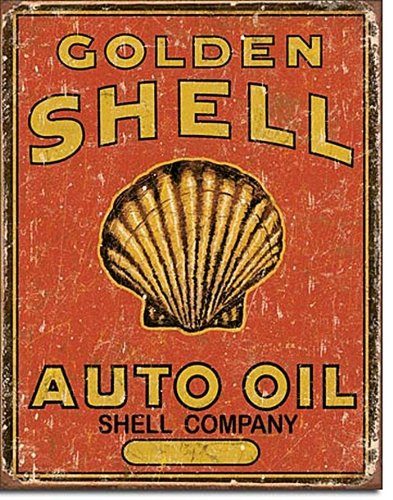 Tin Sign Shell (Shell Auto Oil Tin Sign 13 x 16in)
