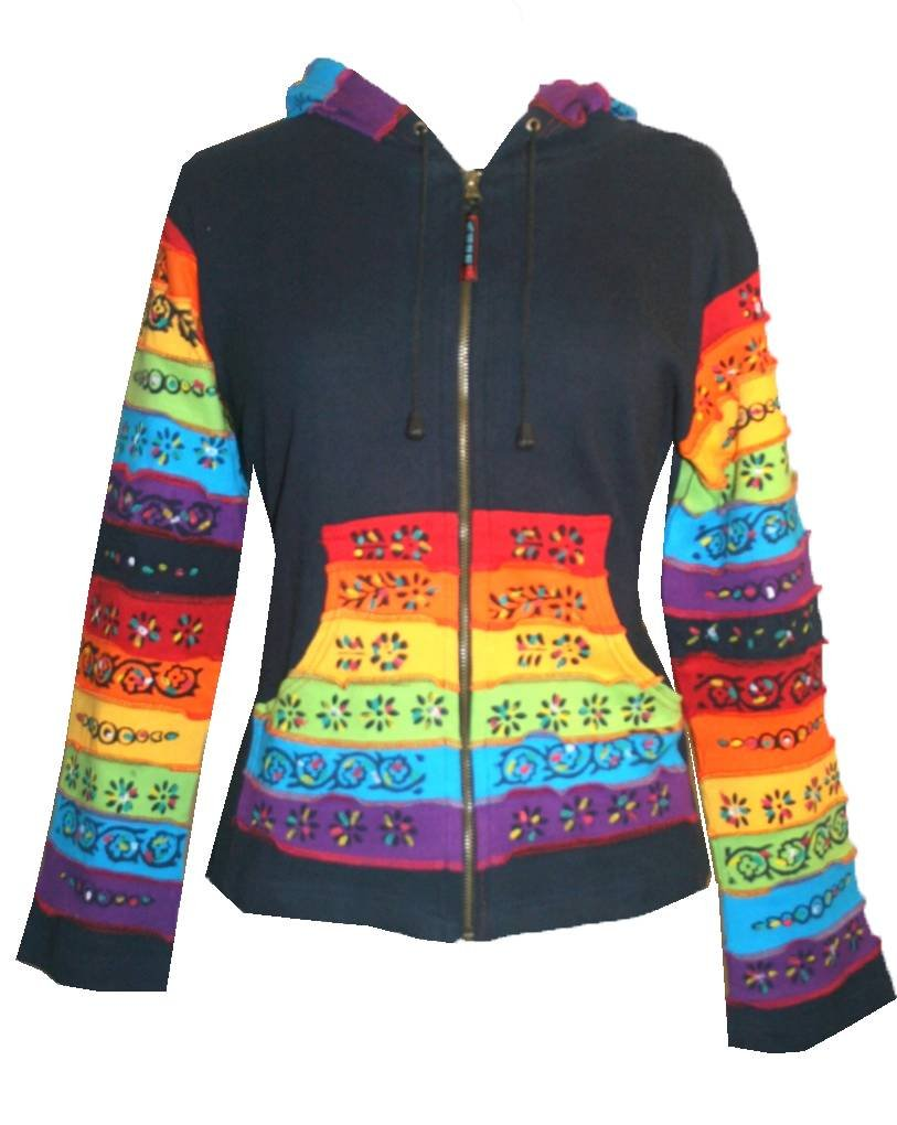 R-310 Hand Painted Rainbow Cotton Bohemian Jacket [S, Blue Multi]