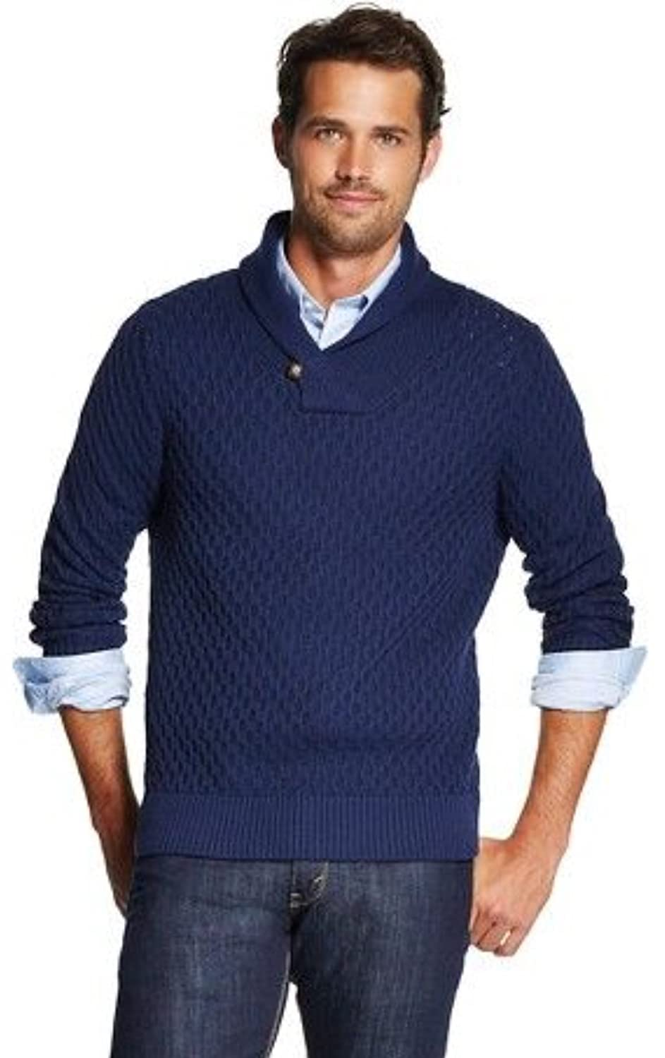 Masked Brand Merona Men\u0027s Shawl Collar Blue Pullover Knit