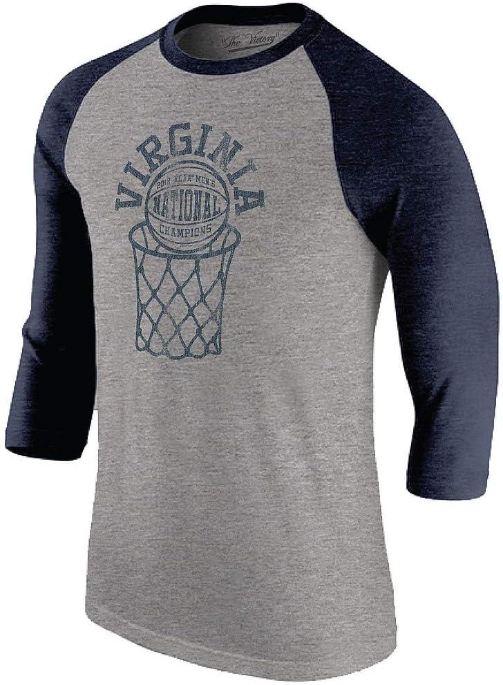 Elite Fan Shop Virginia Cavaliers National Basketball Champions Raglan Tshirt 2019 Gray Vintage
