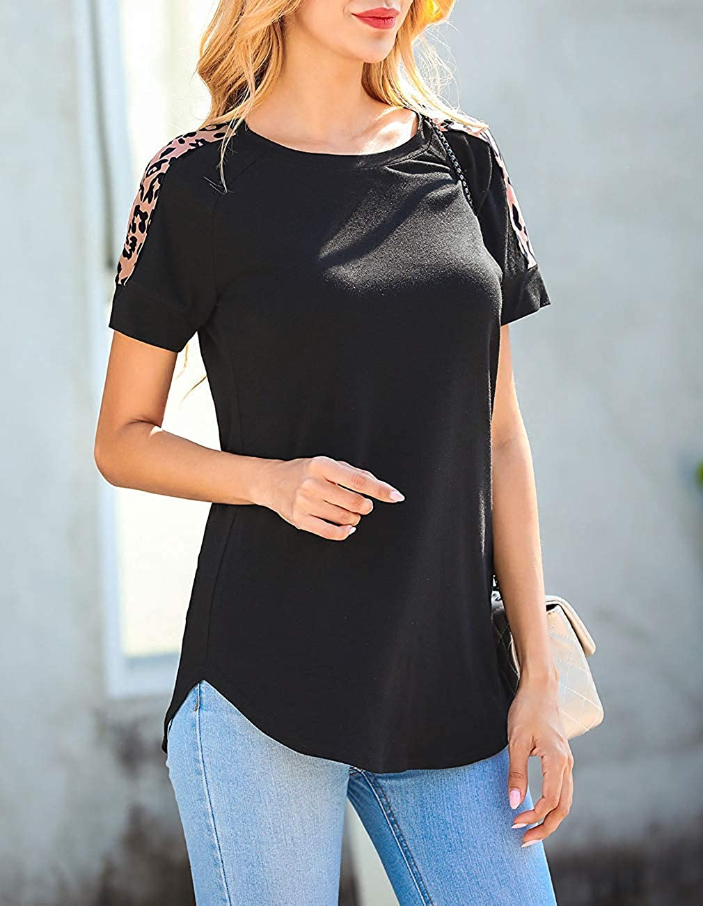 Womens Leopard Print Tops Short Sleeve Cute T Shirts Round Neck Casual Summer Tunic Tee Blouse