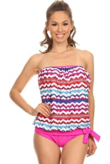 490112201f Dippin' Daisy's Two Piece Abstract Strapless Bandeau Blouson Tie Tankini  Set Bathing Swimsuit for Women