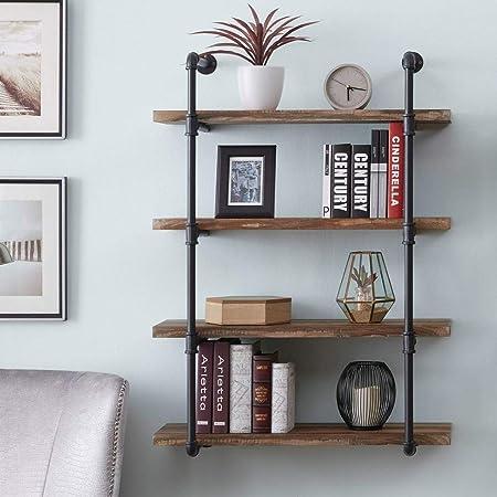 Amazon Com Meeta 4 Tiers Rustic Industrial Water Pipe Wood Wall Mounted Shelf Iron Pipe Design Bookshelf Diy Kitchen Wood Wall Shelf Home Kitchen
