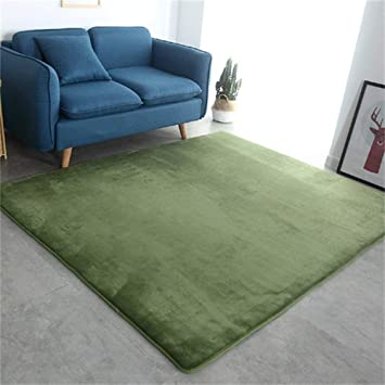 Camal Tapis Rectangulaire En Flanelle Materiel Moquette Decoration Salon Chambre Et Salle De Bains Vert Olive 120 X 120 Cm