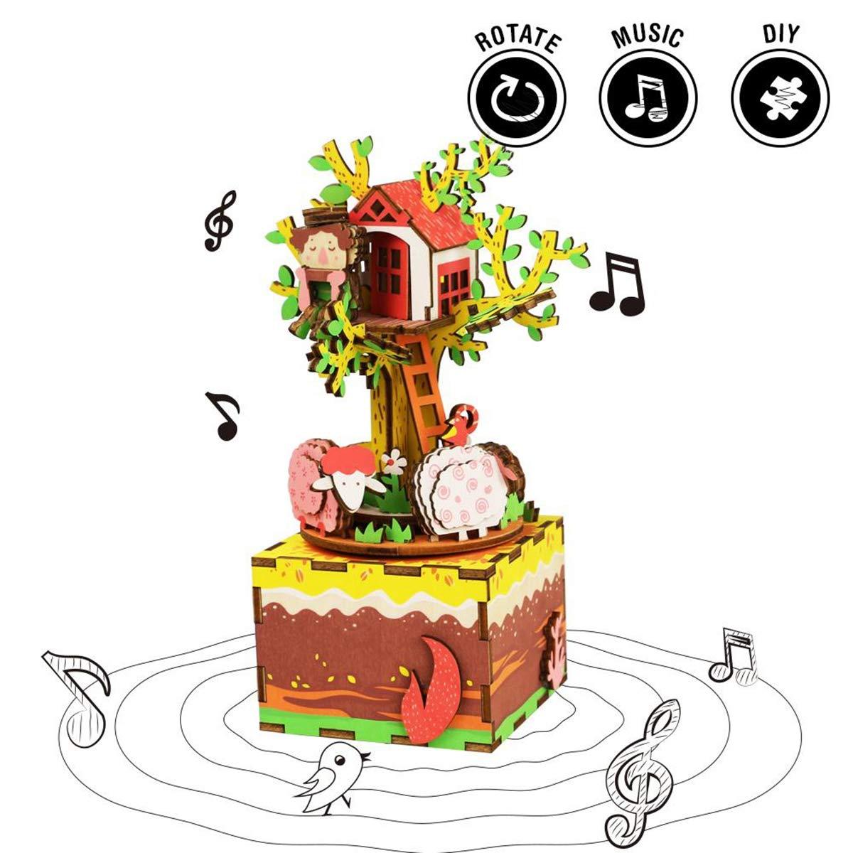 HXZB 3D Rompecabezas de Madera de la Caja de música DIY Conjunto Colorido Giro de Madera Conjunto Artesanal Mejores Vacaciones y cumpleaños casa del árbol de Regalo