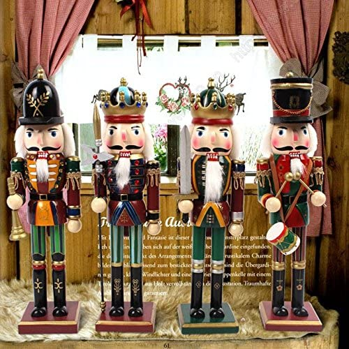 Nutcracker Figures Soldier Doll Christmas Tree Gift Box Spring Country 12 Inch Decoration Figurine Collection Holiday House Present New Wooden Puppet Occasion Ornament 4 Pieces Decorative Toys Set Kid