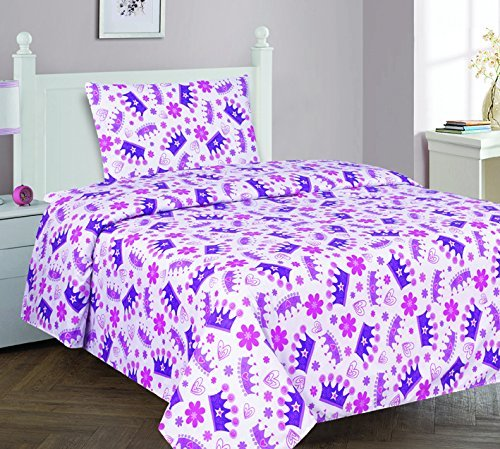 Elegant Home Multicolors Pink White Purple Beautiful Princess Crown Fun 3 Piece Printed Twin Size Sheet Set with Pillowcase Flat Fitted Sheet for Girls / Kids/ Teens # Crown (Twin)