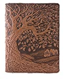 Genuine Leather Composition Notebook Cover + Insert | 8.25 x 10.25 Inches | Tree of Life, Saddle | Benchcrafted in the USA by Oberon Design