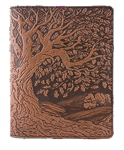 Genuine Leather Composition Notebook Cover + Insert | 8.25 x 10.25 Inches | Tree of Life, Saddle | Benchcrafted in the USA by Oberon Design by Oberon Design