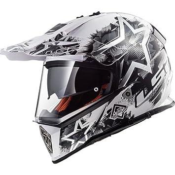 LS2 MX436 PIONERO Caos Doble Visera Casco de Motocross - Blanco Negro XXS(51-