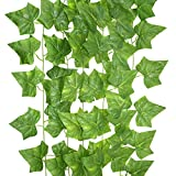 YEDREAM 5PCS Artificial Ivy Greenery Fake Hanging Vines,Each 7.7 Feet Fake Foliage For Wedding Home Indoor Outdoors Party Garden Wall Decoration,Large Leaves (Sweet Potato Leaves)