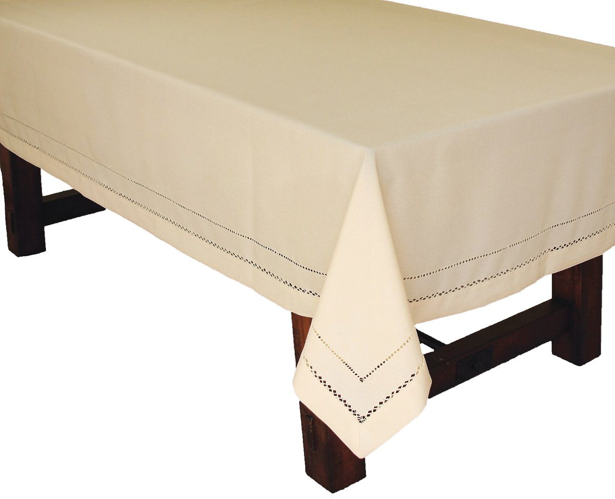 Xia Home Fashions Double Hemstitch Easy Care Tablecloth, 65 by 140-Inch, Ivory