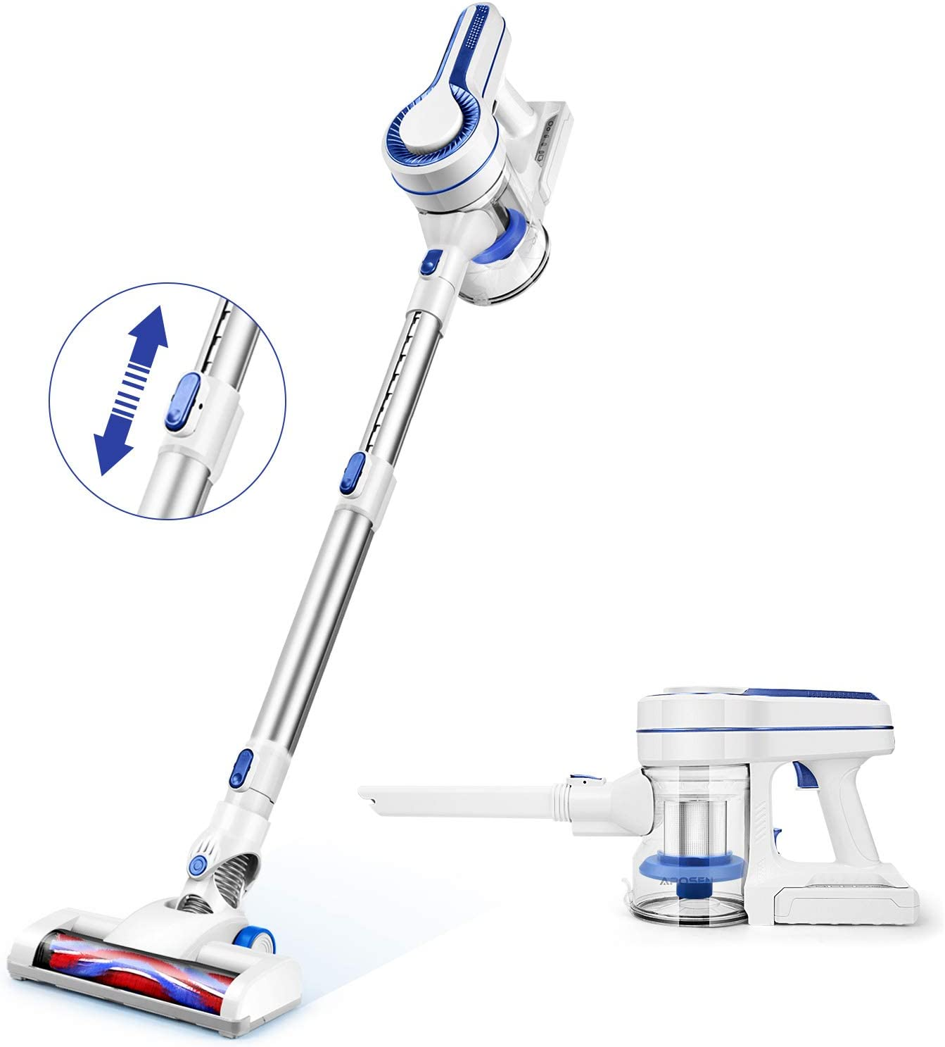 APOSEN Cordless Vacuum Cleaner 4 in 1 Extension Wand Detachable Battery 35min Runtime Stick Vacuum HEPA Sponge Filtration H120