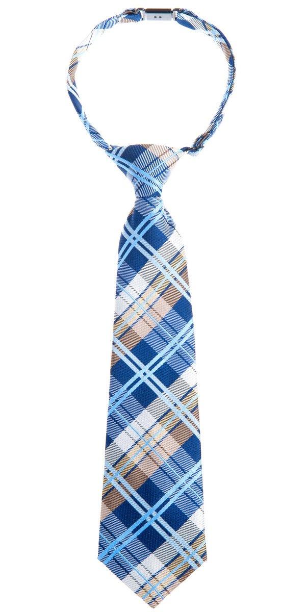 Retreez Elegant Tartan Check Woven Microfiber Pre-tied Boy's Tie - Navy Blue and Khaki - 4-7 years