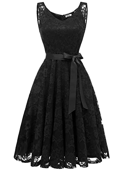 Aonour AR8008 Womens Floral Lace Cocktail Party Dress Short Prom Dress V Neck Black XS