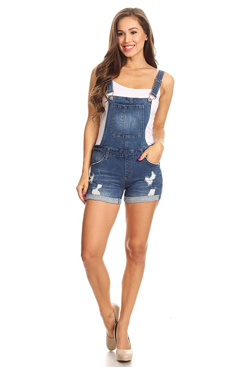 9d6afa5a32a I   M JEANS WOMEN S JUNIORS DISTRESSED MID RISE CUFFED DENIM OVERALLS  (LARGE) at Amazon Women s Clothing store