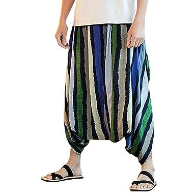 conqueror Pantalon sarouel pour homme Festival du lin et du coton Pantalon  baggy à rayures Pantalon