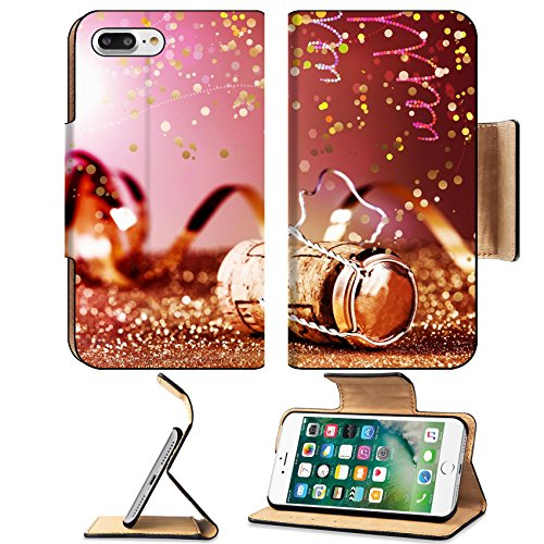 MSD Premium Apple iPhone 7 Plus Flip Pu Leather Wallet Case Close up Festive Champagne Cork in Metal Cage with Paper Streamers on Table with IMAGE 35619455 (New Champagne Year Romantic)