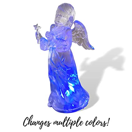 light up christmas angel led color changing lights acrylic angel statue holding a star - Christmas Angel Figurines
