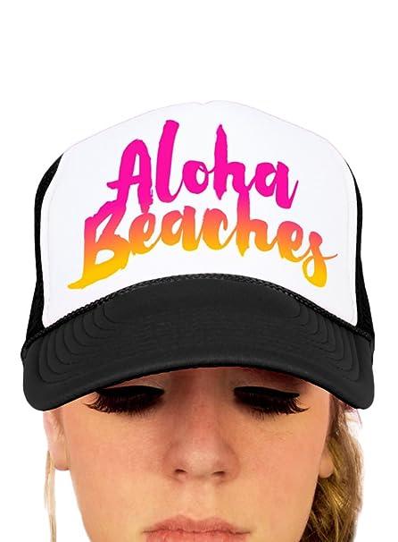 Aloha Beaches on Black and White Trucker Hat at Amazon Women s Clothing  store  06e84449a0b