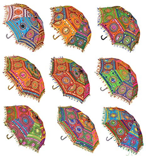 Handmade Embroidered Cotton Umbrella Parasol 24 X 28 Inches Set Of 5 Pcs